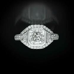 DIAMOND RING HALO ACCENTED WOMEN 3.03 CARATS 14K WHITE GOLD RADIANT ESTATE REAL