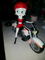 Extremely Rare Betty Boop Riding Pink Motorcycle Figurine Statue