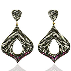 5.68 Ct Pave Diamond Ruby 18 Kt Gold Silver Dangle Earrings Antique Look Jewelry