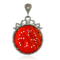 62.23ct Agate 18kt Gold Pave Diamond 925 Sterling Silver Carving Pendant Jewelry