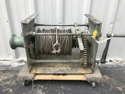 """Vintage Bronze Windlass Winch With Cable And Crank On Side From Tugboat 18"""" X 40"""""""
