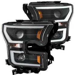 Anzo Plank Style Projector Headlights Black W/ Amber For 2015-2017 Ford F-150