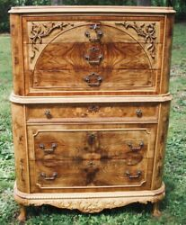 Marquetry Antique Furniture Highboy Chest Drawers Dresser French Provincial