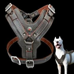 Genuine Leather Dog Harness for Large Dogs Pet Training Vest With Quick Control