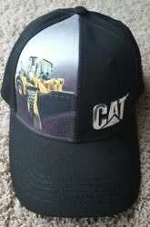NEW CATERPILLAR CAT SILVER METALLIC LOGO HAT CAP BLACK STRUCTURED WHEEL LOADER