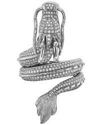 Gorgeous Dragon Design Women's Fine Ring In 925 Solid Silver With Cubic Zirconia