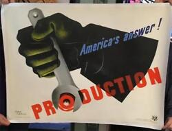 Ww Ll America's Answer Production By Jean Carlu Linen-backed Poster 38 X 30