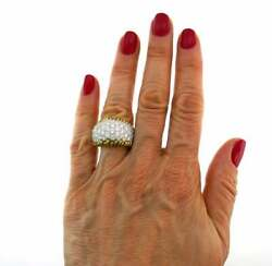 Pure 925 Two Tone Solid Silver With Pave Set 3.89CT Cubic Zirconia Fashion Ring