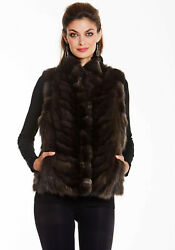 Womens Real Siberian Sable Fur Vest Reversible To Fabric