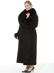 Fox Fur Trimmed Collar And Cuffs Full Length Long Cashmere Coat Plus Size Black
