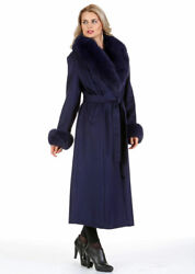 Plus Size Full Length Long Cashmere Coat With Real Fox Fur Collar And Cuffs Navy