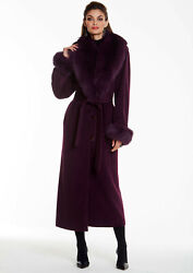 Womens Long Cashmere Coat With Real Fox Fur Collar And Cuffs Purple Plum
