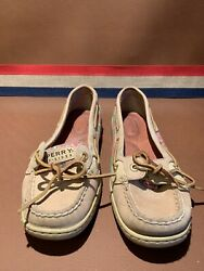 Sperrys Top Sider Size 6m Tan With Pink Green Sequins Boat Shoes