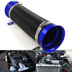 3inch Flexible Short Ram/cold Air Intake Duct Turbo Black Tube Pipe Hose Blue