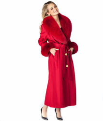 Real Fox Fur Collar Long Cashmere Coat For Women Plus Size - Red