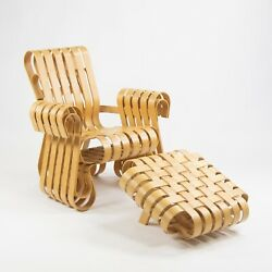 Vintage Frank Gehry for Knoll Power Play Lounge Chair and Ottoman Maple 1993