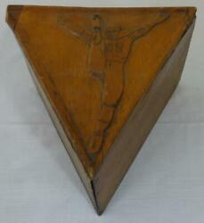 Antique Hand Made And Carved Wooden Triangular Football Kicking Tee Box Holder