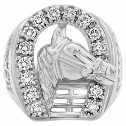 Round Cubic Zirconia With 925 Solid Sterling Silver Horse Shoe Men's Fine Ring