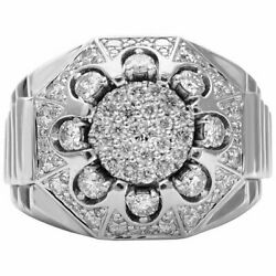 Real 925 Solid Sterling Silver With 2.25 Carat Cubic Zirconia Men's Cluster Ring