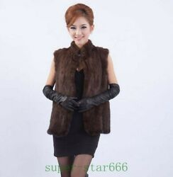 Winter Women's Real Genuine Knitted Mink Fur Vest Stand Collar Sleeveless Black