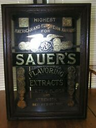 Antique Sauers Flavoring Extracts Display Cabinet, Country General Store