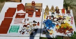 Vintage Marx Fort Apache 301 Pieces Horses Wagons Indians Guns Cavalry Teepees