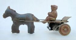 Antique Old Rare Collectible Man With Donkey Cart Wind Up Tin Print Toy Germany
