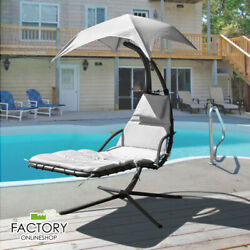 Hanging Chaise Lounger Chair Arc Stand Swing Hammock Chair Air Porch Canopy