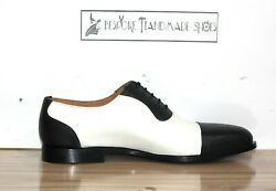Handmade Men's Genuine Black & White Leather Toe Cap Lace Up Formal Shoes