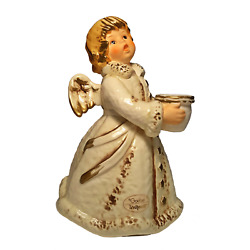 Goebel By Frobek 42 329 22 White And Gold Angel Candleholder