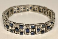 Antique 1970s 14k White Gold With Sapphires And 1.5ct In Diamonds Bracelet