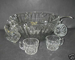 Anchor Hocking Crown Point Clear 18 Pc Punch Set Bowl Cup Ladle Box