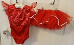 Red Ballerina Kids Dance Halloween Vintage Costume Maricela#x27;s Designs 2 pcs