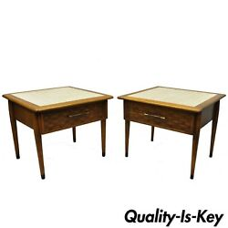 Pair Of Mid Century Modern Lane Style Walnut And Travertine One Drawer End Tables
