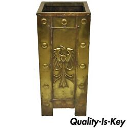 Antique Arts And Crafts Baronial Brass Eagle Wood Lined Umbrella Cane Stick Stand