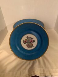 Antique 12 Ovington Brothers Ny B And Co Limoge Blue Gold Floral Plates Gorgeous