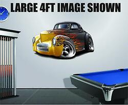 1941 Willys Ford Streetrod Cartoon Car Decal Graphic Corhole Tool Box Trailer