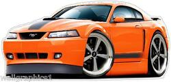 Ford Mustang 2003-4 Mach 1 Cartoon Car Wall Decal Sticker Graphic Poster New