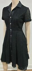 Giles Black Cotton Blend Lace Collared Short Sleeve Pleated A-line Shirt Dress