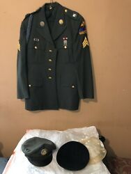 Old Ironsides Uniform Dress Jacket Hat 1st Armored Division Us Army Sergeant Cap