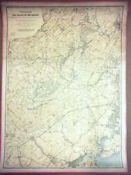 Large 3-ft Linen-backed Original Antique Map Valley Of The Passaic, New Jersey