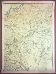 Large 3-ft Linen-backed Original Antique Map Mount Holly Area, New Jersey 1888