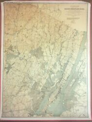Large 3-ft Antique Map Bergen, Hudson, And Essex Counties New Jersey 1888