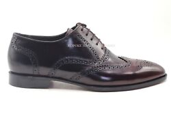 Handmade Menand039s Black And Burgundy Shaded Oxford Brogue Wingtip Two Tone Us228