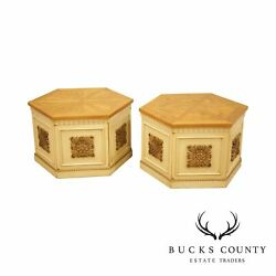 Vintage Pair Burl Wood, Partial Gilt And Painted Storage End Tables By Lane
