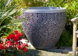 1pcs Extra Large Gray Tree Basin Garden Floor Outdoor Plants Flower Barrel Pot