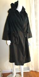 Issey Miyake -sz 2 S M Woven French Ruched Dyed Art-to-wear Long Coat Jacket