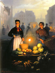 Petrus Van Schendel A Market Stall By Moonlight Artist Painting Reproduction Oil