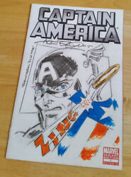 CAPTAIN AMERICA 1 RARE ORIGINAL SKETCH ALLEN BELLMAN TIMELY MARVEL I WAS THERE