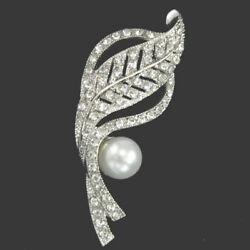 South Sea White Pearls In 925 Silver With Pave Set CZ Fine Leaf Design Brooches